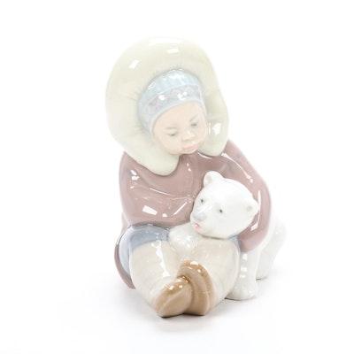 "Lladró ""Eskimo Playing"" Porcelain Figurine Designed by Juan Huerta"
