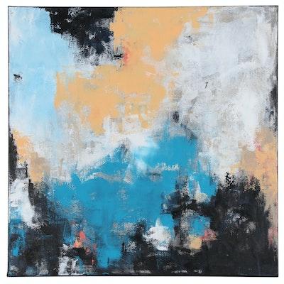 """Sanna Abstract Acrylic Painting """"Centrally Focused"""", 2020"""