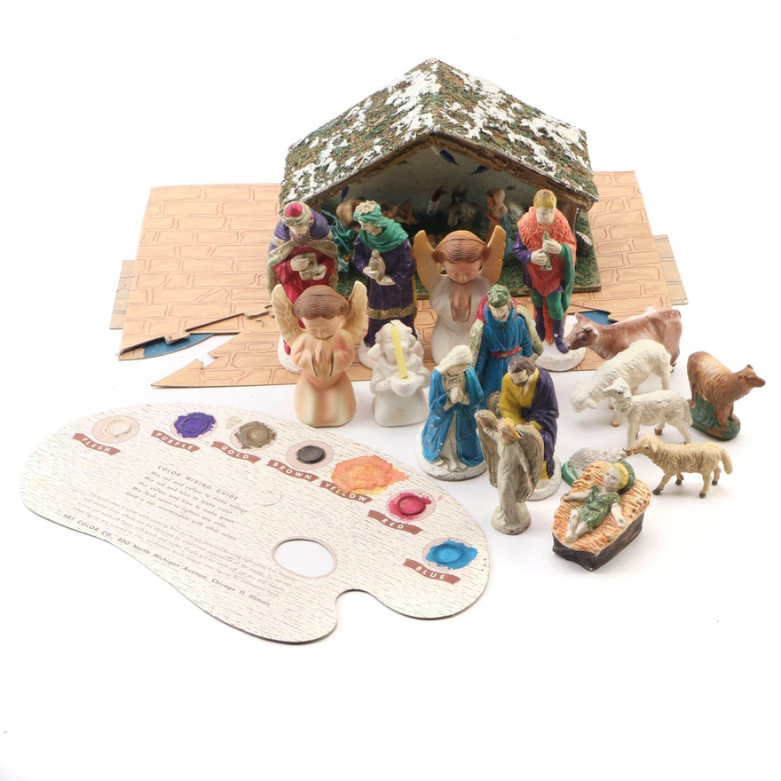 Illuminated Christmas Nativity Scene, Coloring Set, Figurines, Mid/Late 20th C
