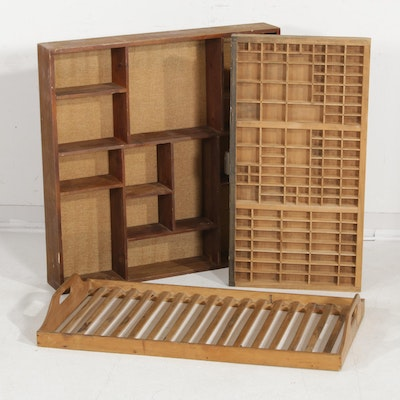 French Cognac Crate, Printing Block Drawer, and Wall Shelf, Early to Mid 20th C.