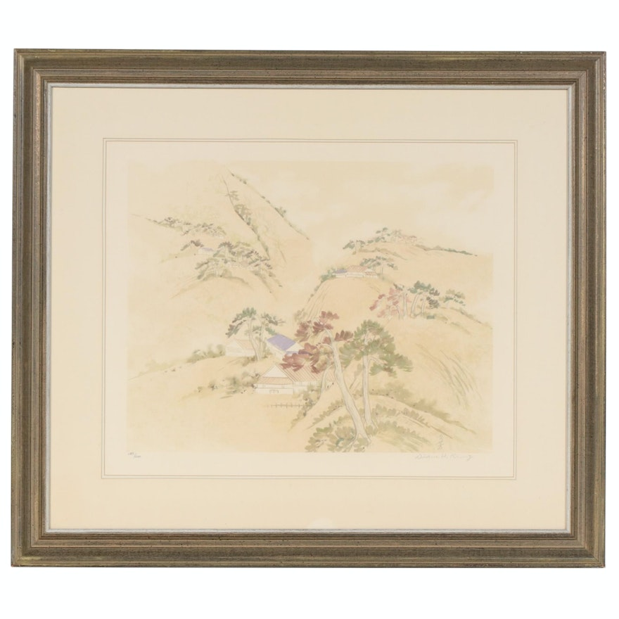 "Diane Hsu Kung Color Lithograph ""Autumn Mountains"", Late 20th Century"