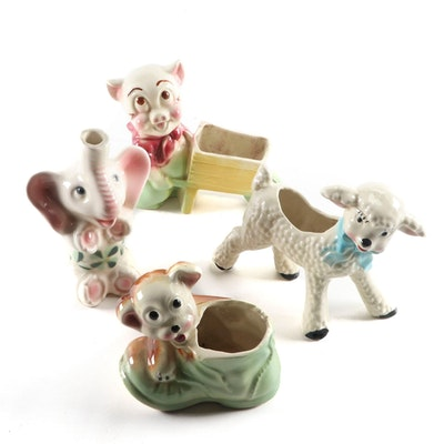 """Ceramic Animal Planters Including """"Porky Pig Pushing Wheelbarrow,"""" 1940s, 1950s"""