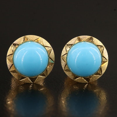 Vintage 18K Round Glass Cabochon Earrings