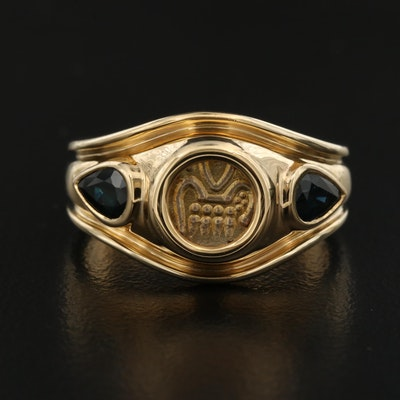 14K Coin Ring with Sapphire Accents