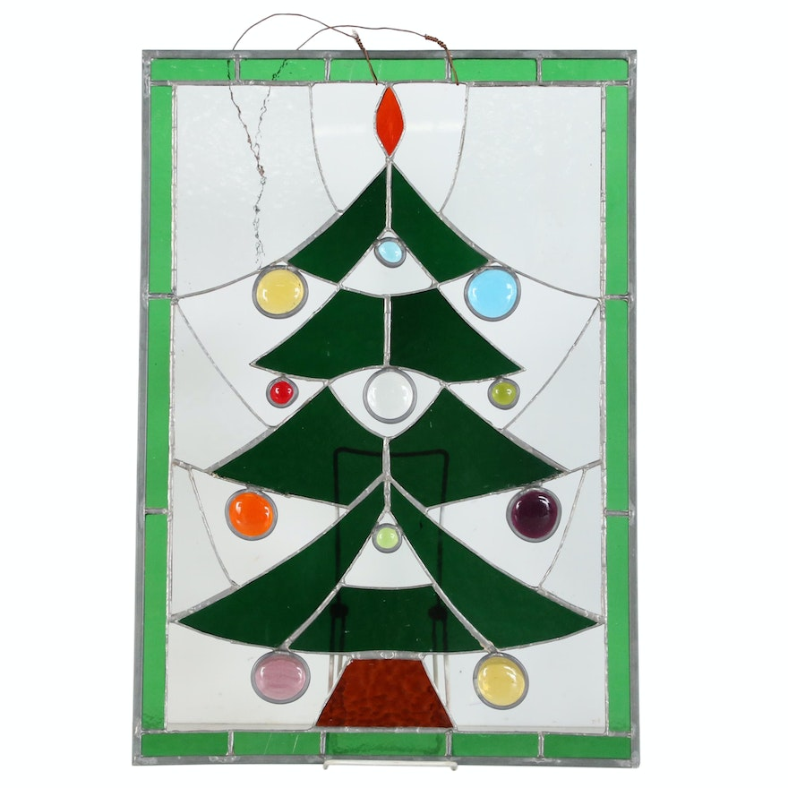 Christmas Tree Stained Glass Panel, Mid-20th Century