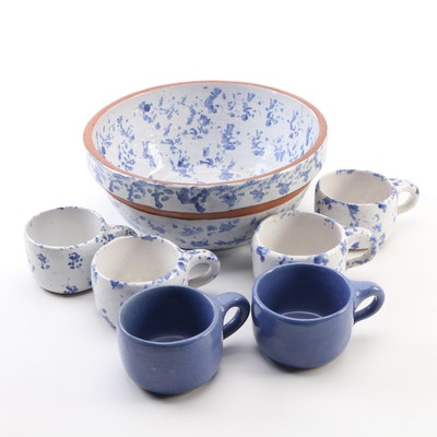 Bybee Pottery Blue and White Spongeware Bowl and Cups