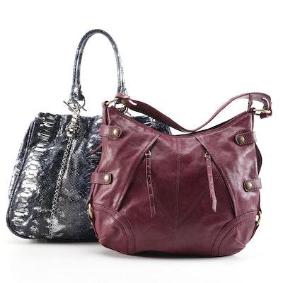 PH +39 Metallic Glazed Python Skin Handbag and Marc New York Leather Hobo Bag