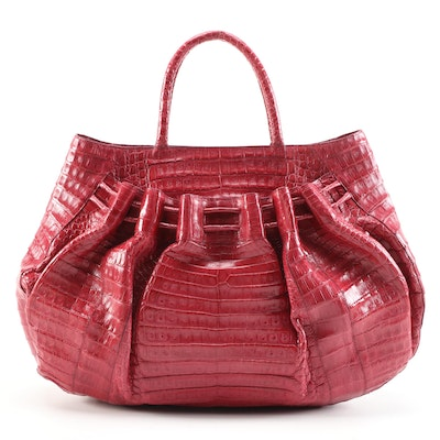 Nancy Gonzalez Tote in Magenta Crocodile Skin Leather