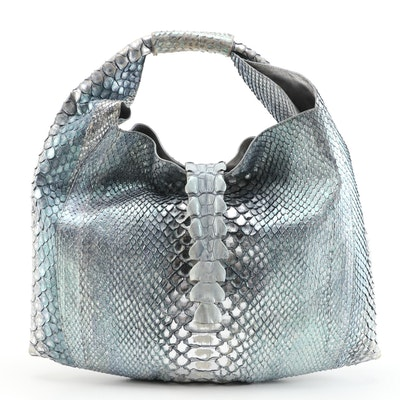 Silvano Biagini Hobo Bag in Glazed Blue Grey Python Skin Leather