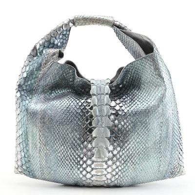 Silvano Biagini Hobo Bag in Glazed Blue Grey Python Skin Leather