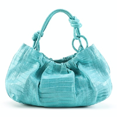 Nancy Gonzalez Hobo Bag in Turquoise Crocodile Skin Leather