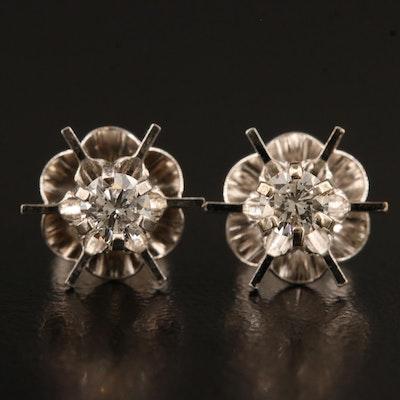 Vintage 14K Buttercup Set 0.32 CTW Diamond Stud Earrings