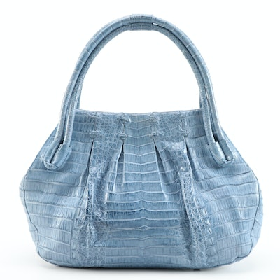 Nancy Gonzalez Tote Bag in Blue Crocodile Skin Leather