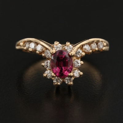 14K Rhodolite Garnet and Diamond Ring