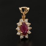 14K Marquise Faceted Ruby and Diamond Pendant