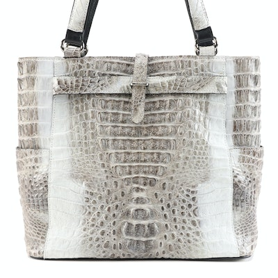 River Crocodile Skin Leather Shoulder Bag