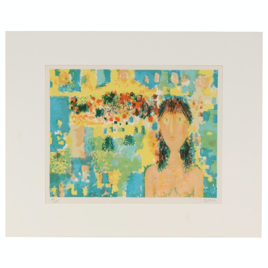 """René Quillivic Color Lithograph """"Nude in Landscape"""", Mid 20th Century"""