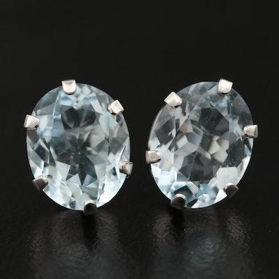 14K Oval Faceted Aquamarine Stud Earrings