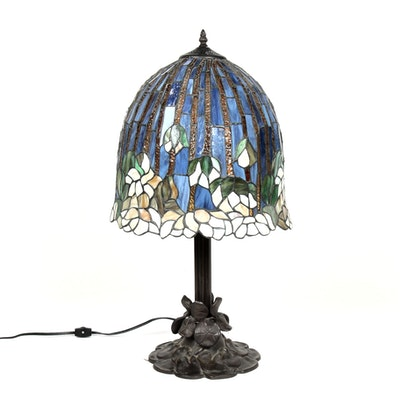 Tiffany Style Blue Slag Glass and Floral Design Table Lamp