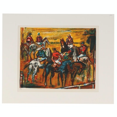 "Rodolphe Caillaux Color Lithograph ""Horses Before the Race"", 20th Century"