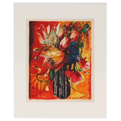 "Rodolphe Caillaux Color Lithograph ""Bouquet de Fleurs"", Mid to Late 20th Century"