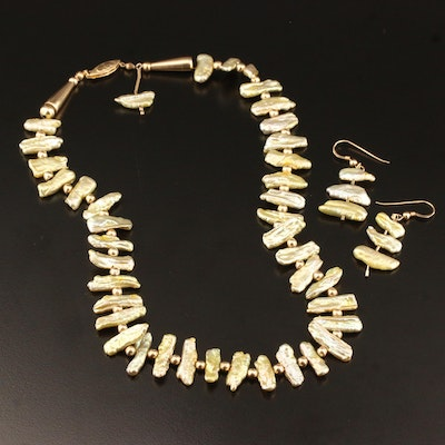 Baroque Pearl Necklace and Earrings with 14K and Gold Filled Components