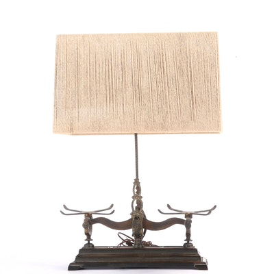 """Cast Metal """"No. 2"""" Balance Scale Converted to Table Lamp"""