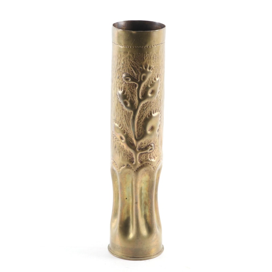 Trench Art Embossed WW1 Artillery Shell, Early 20th Century
