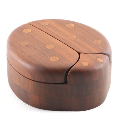 Hand-Carved Wooden Ladybug Box