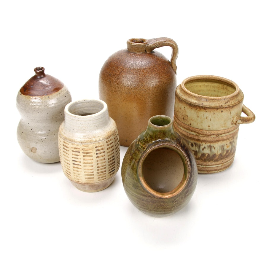 Speckled and Mottled Stoneware Art Pottery Jug and Vases