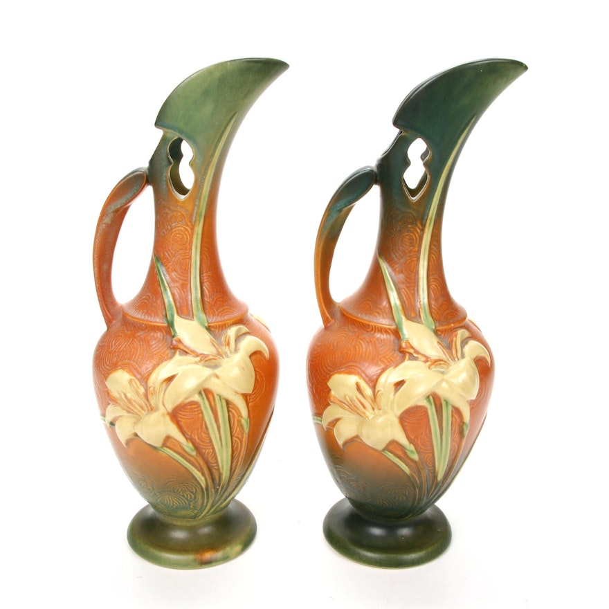 """Pair of Roseville Pottery """"Zephyr Lily"""" Ewers, 1940s"""