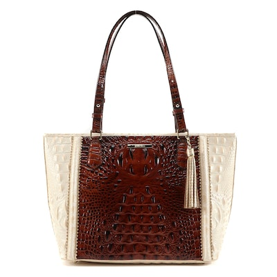 Brahmin Crocodile Embossed Leather Bag in Two-Tone with Tassel