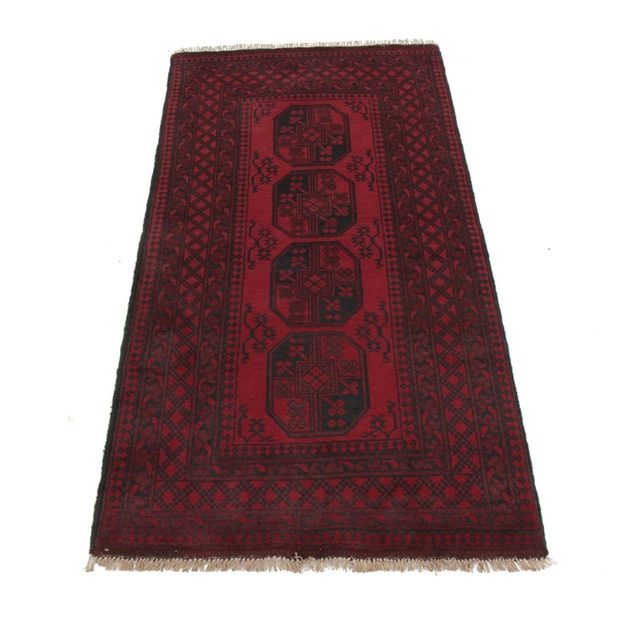 3'5 x 6'11 Hand-Knotted Afghani Turkoman Rug, 2000s