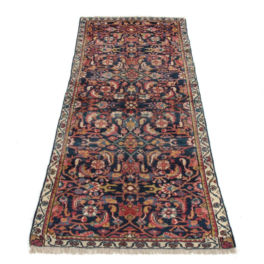 3'9 x 8'1 Hand-Knotted Persian Mahal Rug, 1920s