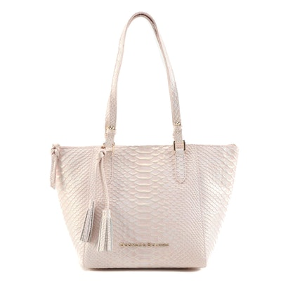 Dooney & Bourke Maxine Snakeskin Embossed Leather Tote in Pearlescent Pale Pink