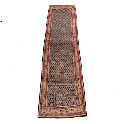 2'6 x 11' Hand-Knotted Persian Mir Saraband Runner Rug, 1970s