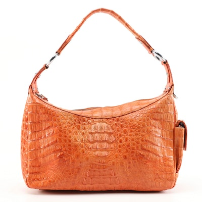 Crocodee Hobo Bag in Orange Crocodile Skin Leather