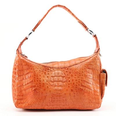 Crocodee Hobo Bag in Orange Crocodile Skin Leather