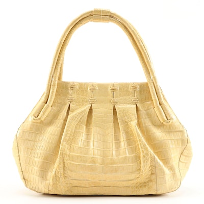 Nancy Gonzalez Yellow Crocodile Skin Leather Satchel