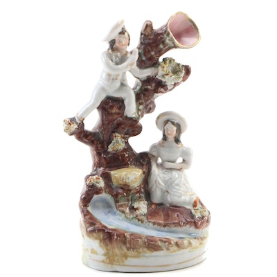 English Staffordshire Pearlware Spill Vase, Mid 19th Century