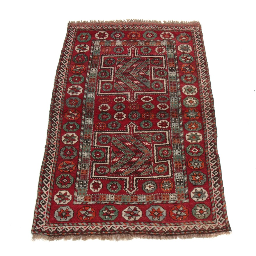 3'6 x 5'6 Hand-Knotted Caucasian Rug, 1930s