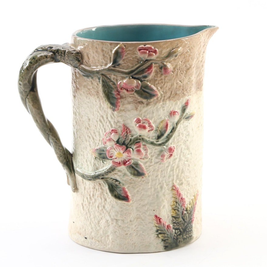 Majolica Floral Ceramic Pitcher, Late 19th Century