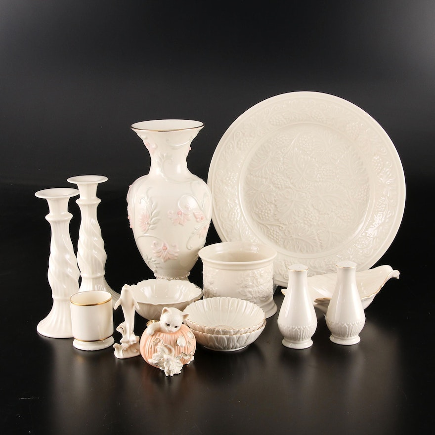 "Lenox Porcelain, Featuring ""Special"" Charger and ""Gem Blossoms"" Vase"