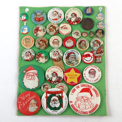 Santa Claus and Merry Christmas Pinbacks, Early to Mid-20th Century