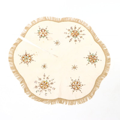 Hand Embroidered Scalloped Tabletop Tree Skirt, circa 1960