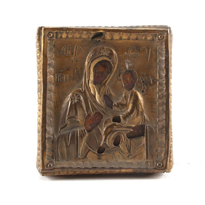 Russian Icon of the Theotokos with Brass Riza, 19th Century
