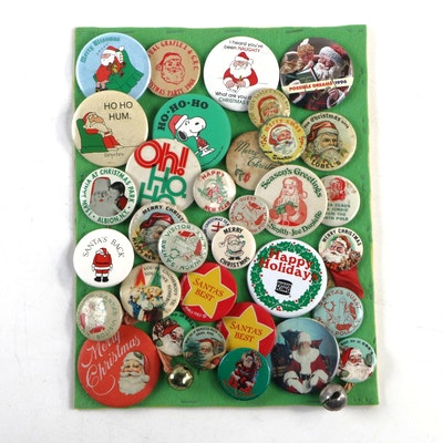 Merry Christmas and Santa Claus Holiday Pinbacks, Vintage