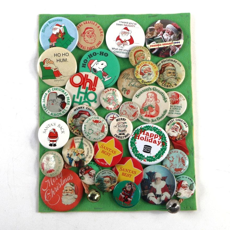 Merry Christmas and Santa Claus Holiday Pinbacks, Vintage