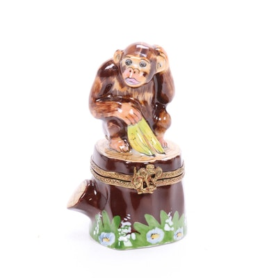 Hand-Painted Limoges Porcelain Monkey Trinket Box