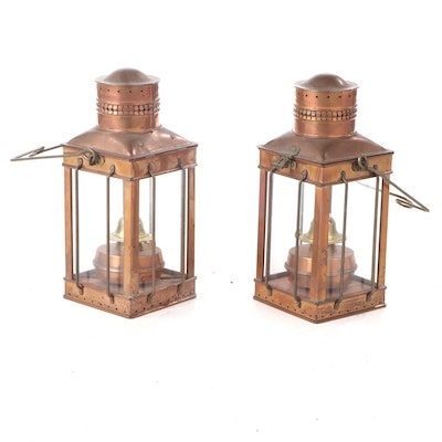 Pair of Brass and Copper Oil Lanterns